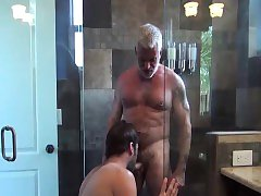Older dude Jake Marshall drills hot stud in a bathroom